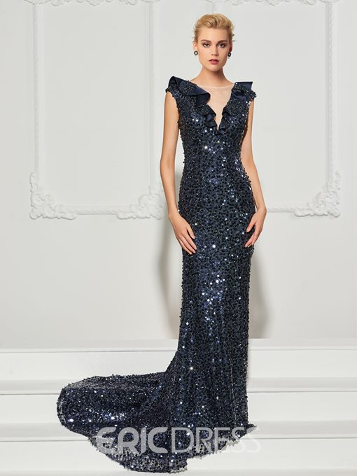 Ericdress Cap Sleeve Ruffle Sequin Mermaid Evening Dress With Sweep Train