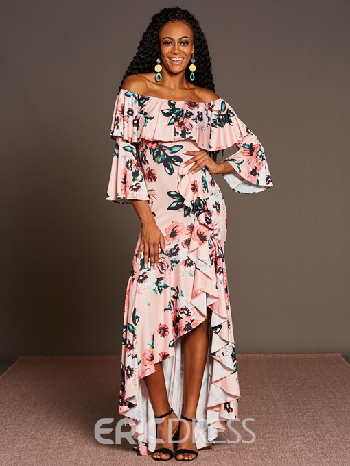 Ericdress Ruffles Print Asymmetrica Maxi Dress