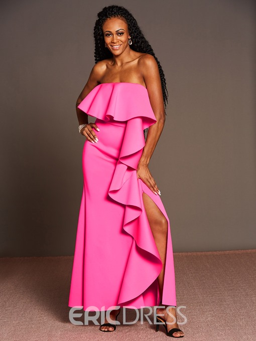Ericdress Ruffles Backless Strapless Maxi Dress