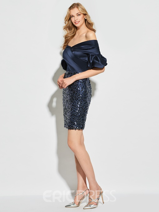 Ericdress Short Sleeve Off The Shoulder Sequin Sheath Cocktail Dress