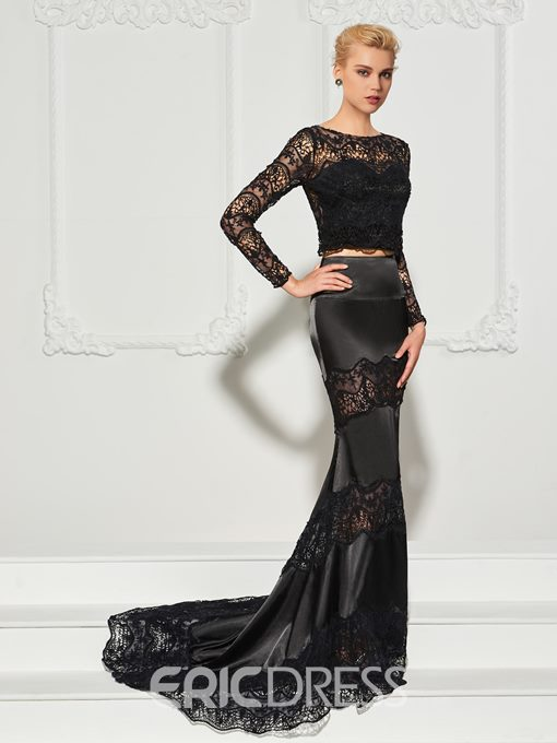 Ericdress Long Sleeve Lace Two Pieces Mermaid Evening Dress With Sweep Train