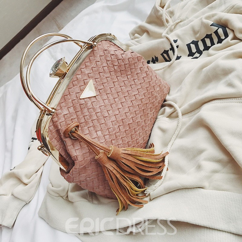 Ericdress Knitted Pattern Tassel Decoration Crossbody Bag