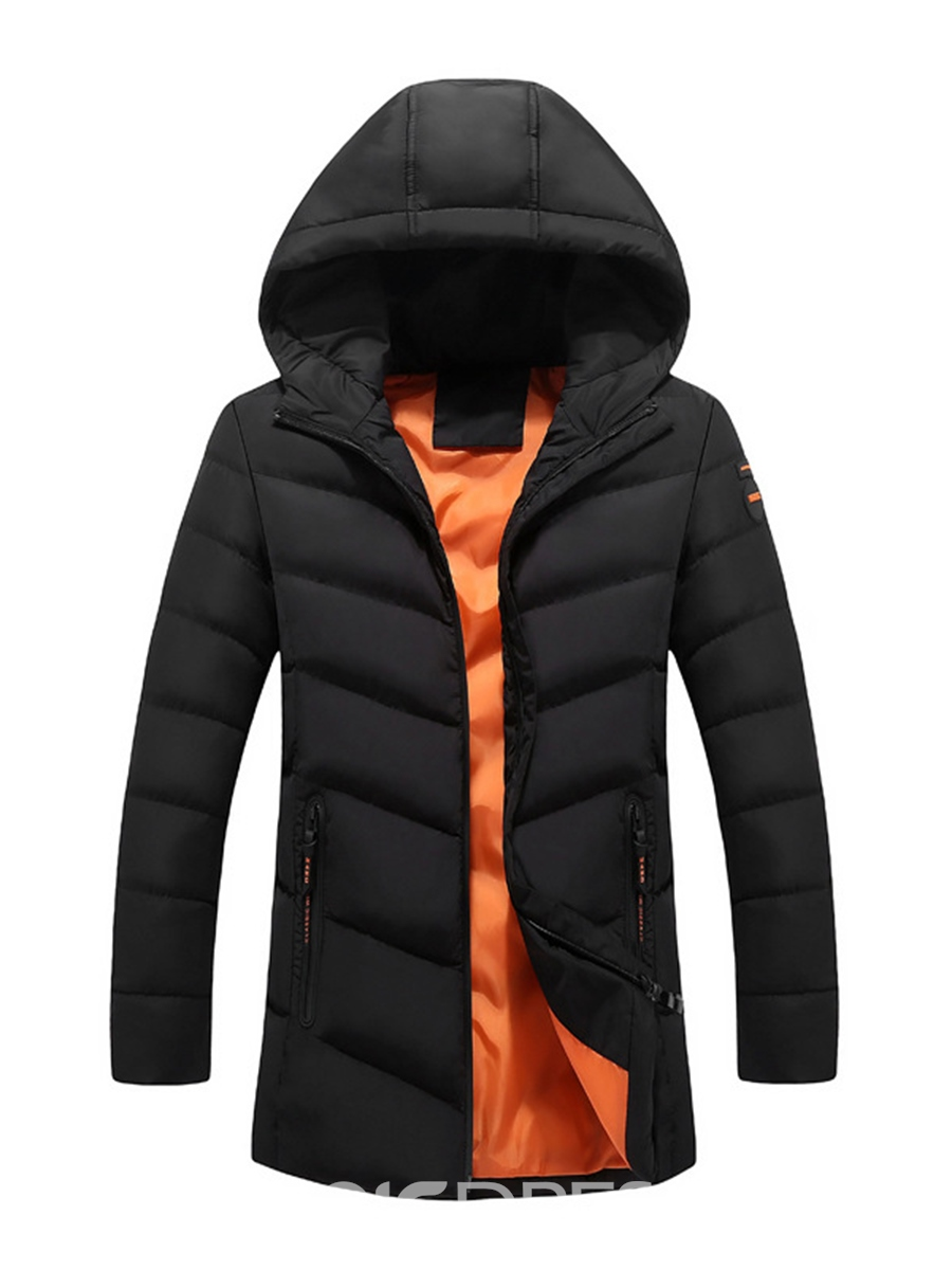 Ericdress Plain Hooded Thicken Warm Slim Men's Winter Coat