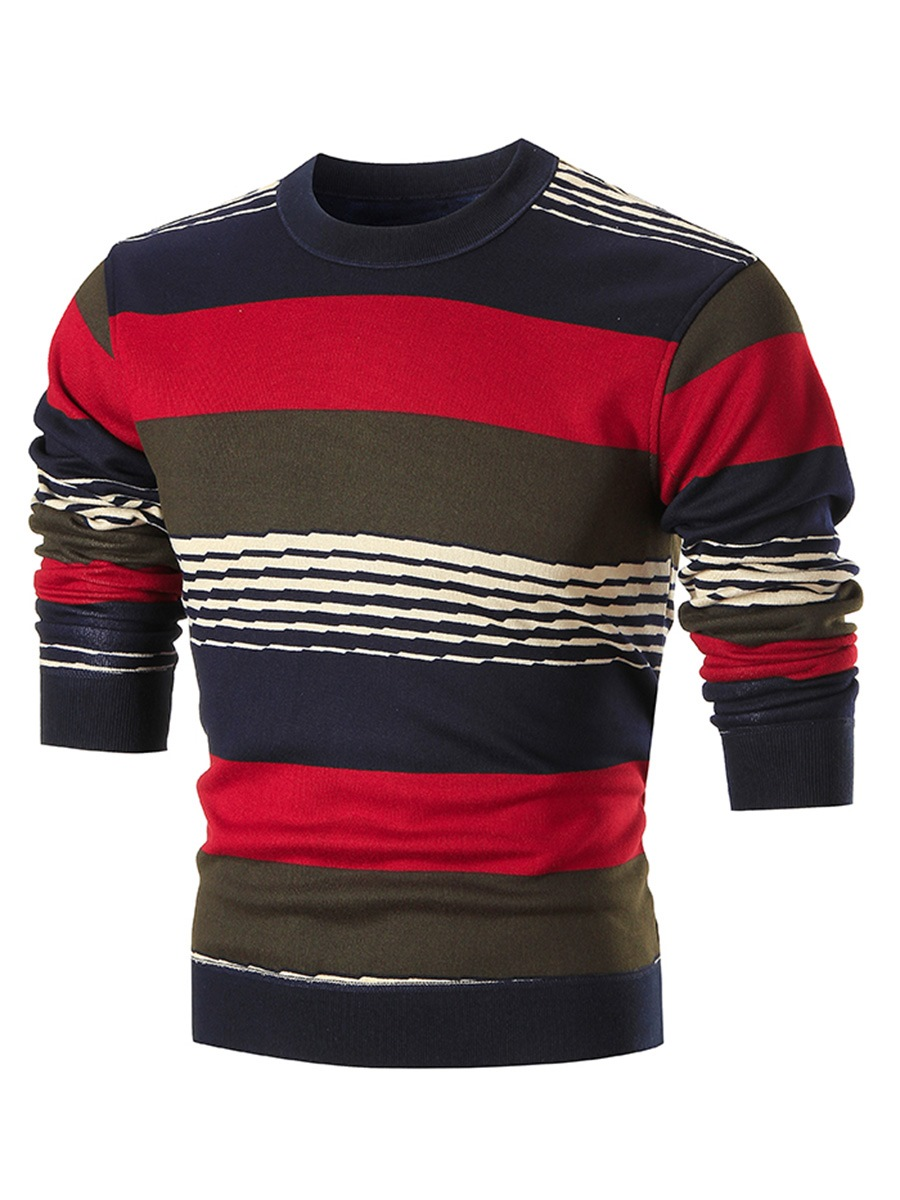 Ericdress Velvet Warm Color Block Stripe Men's Sweater