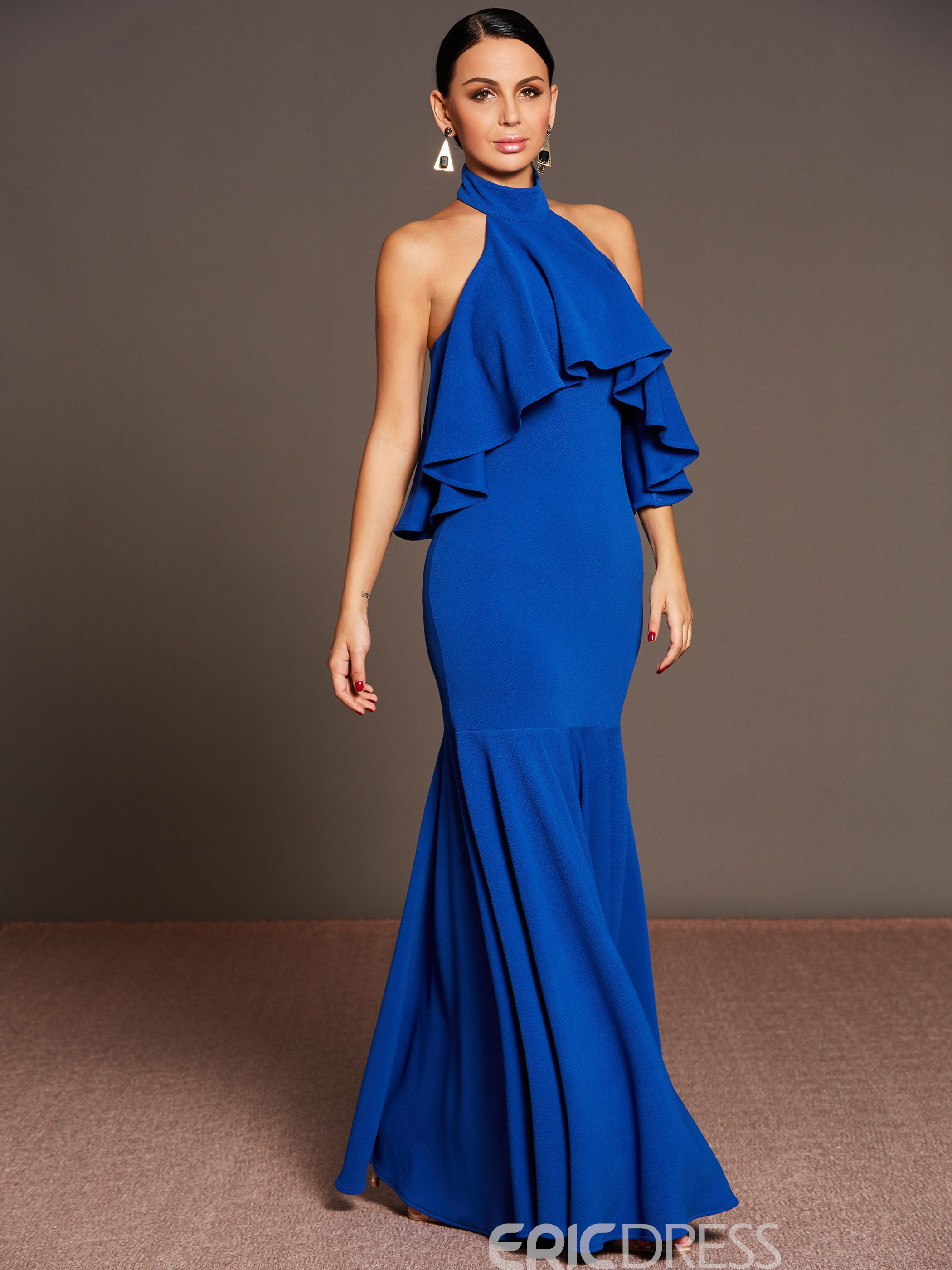 Ericdress Stand Collar Halter Ruffle Mermaid Maxi Dress