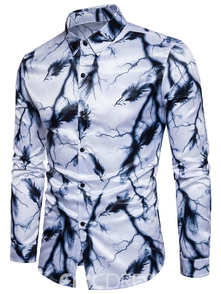 Ericdress Floral Print Lapel Long Sleeve Vogue Slim Men's Shirt