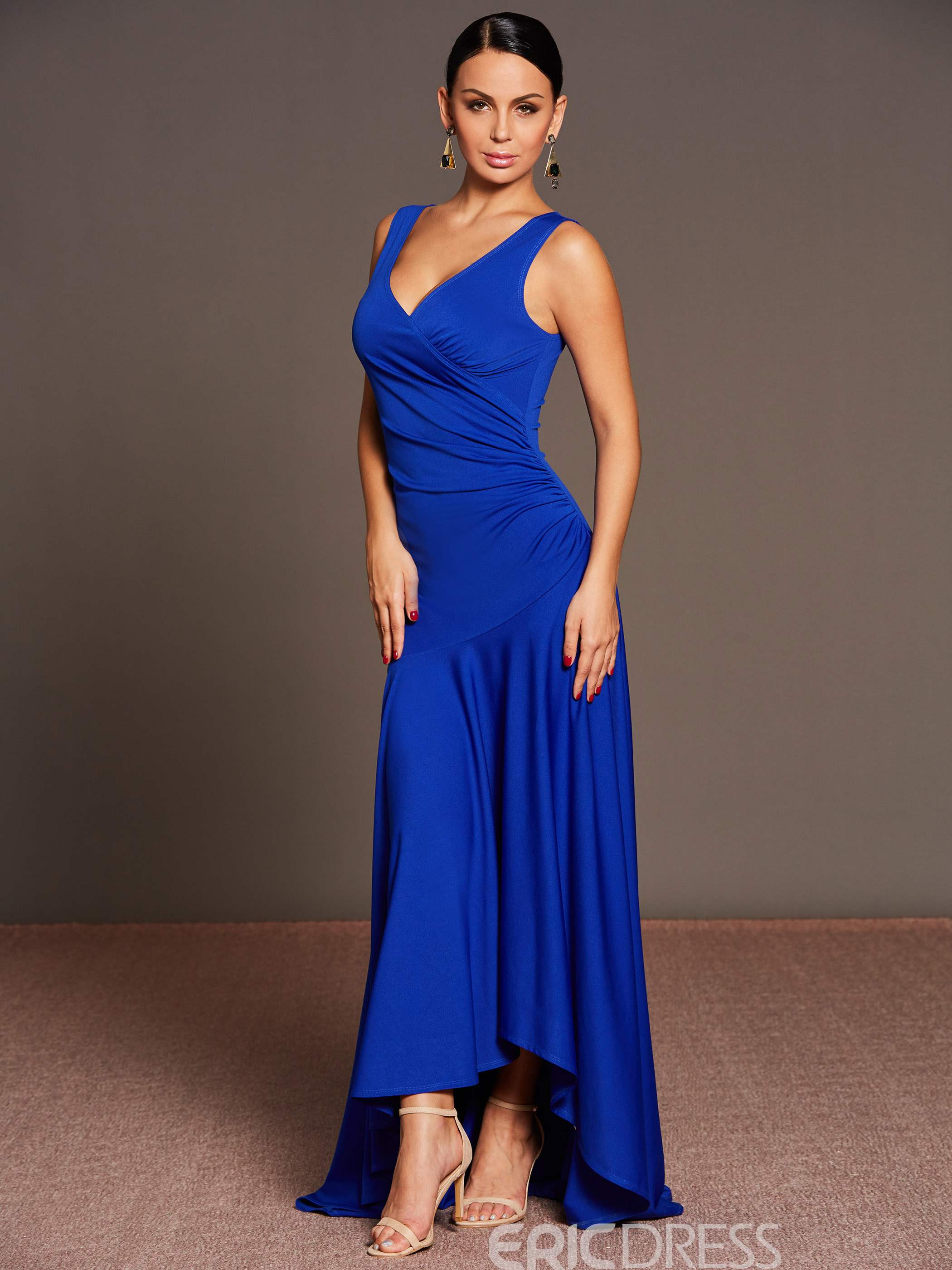 Ericdress V-Neck Pleated Asymmetrical Floor-Length Maxi Dress