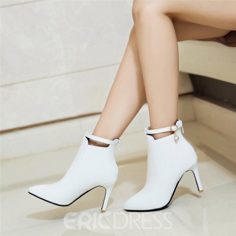 Ericdress Plain Buckle Pointed Toe Stiletto Heel Boots with Beads