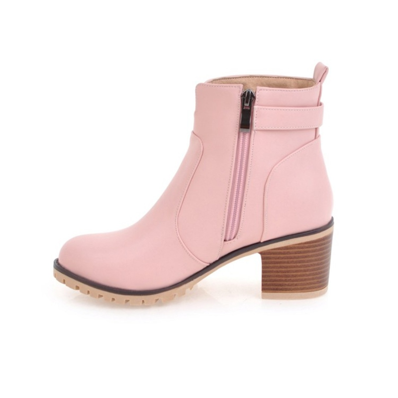 Ericdress Buckle Round Toe Plain High Heel Ankle Boots
