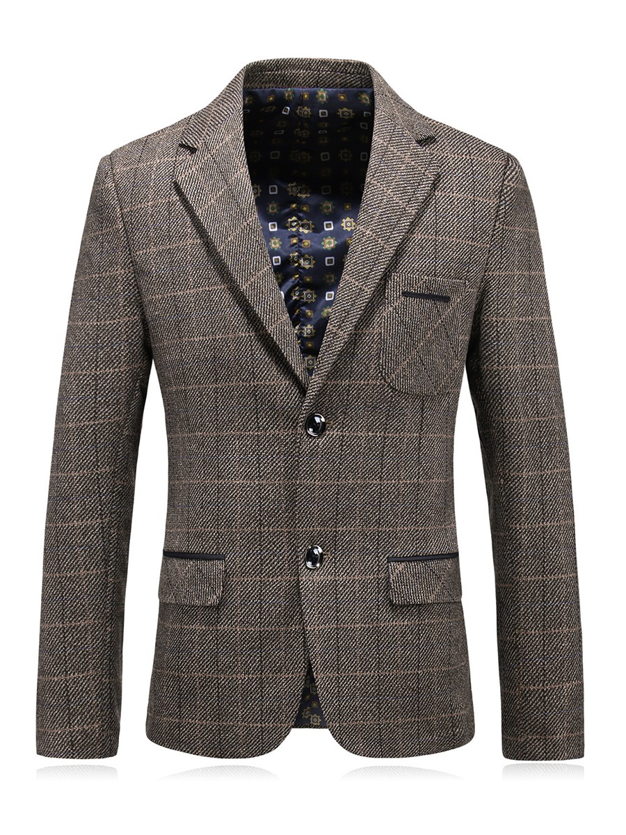 Ericdress Plain Plaid Notched Lapel Single-Breasted Slim Men's Blazer