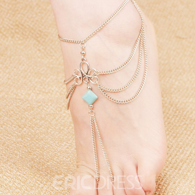 Ericdress Alluring Multilayer Resin Alloy Women's Anklet
