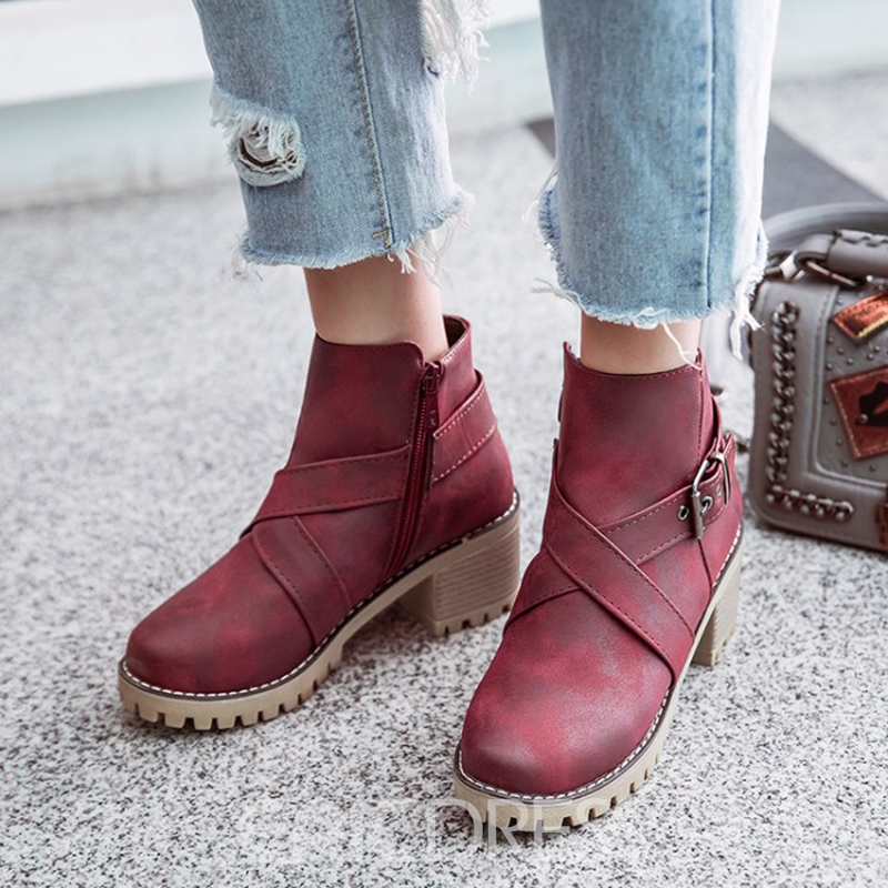 Ericdress Plain Buckle Platform Women's Ankle Boots