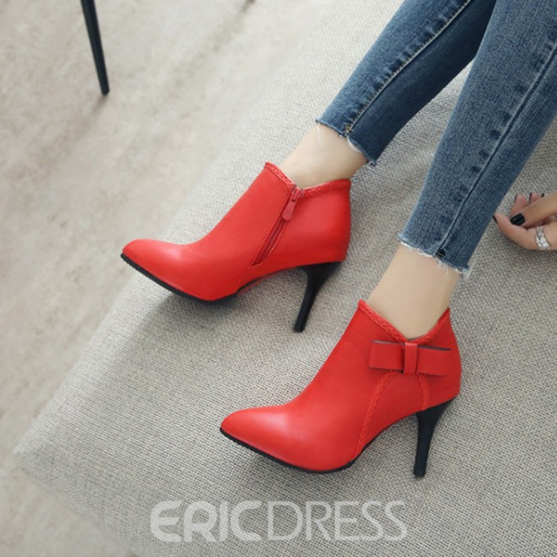 Ericdress Plain Pointed Toe Stiletto Heel Boots with Bowknot