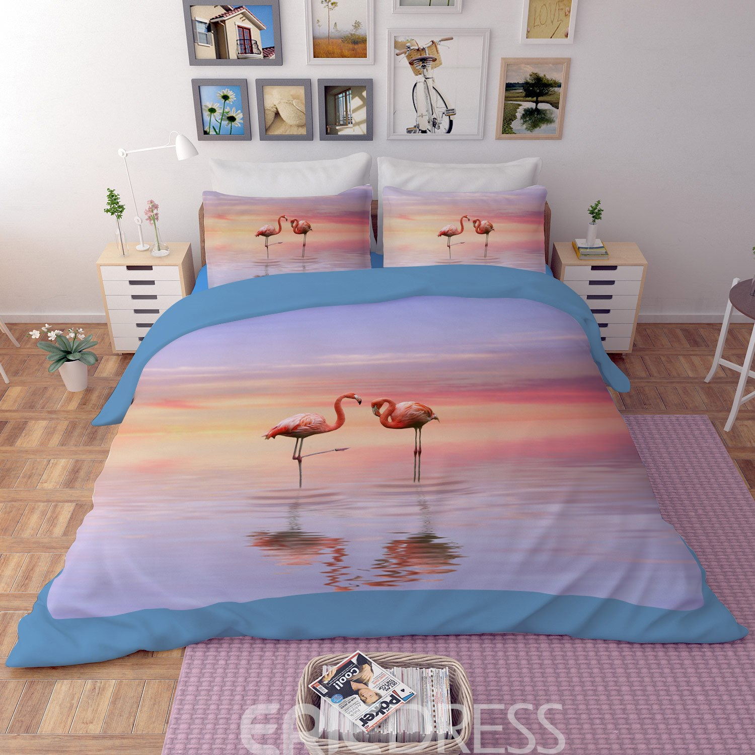 Vivilinen 3D Pink Flamingos by the Sea Printed Polyester 4-Piece Bedding Sets/Duvet Covers