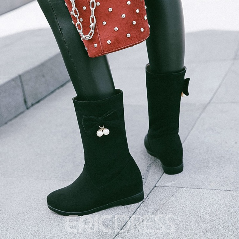 Ericdress Beads Decorated Slip-On Plain Flat Boots