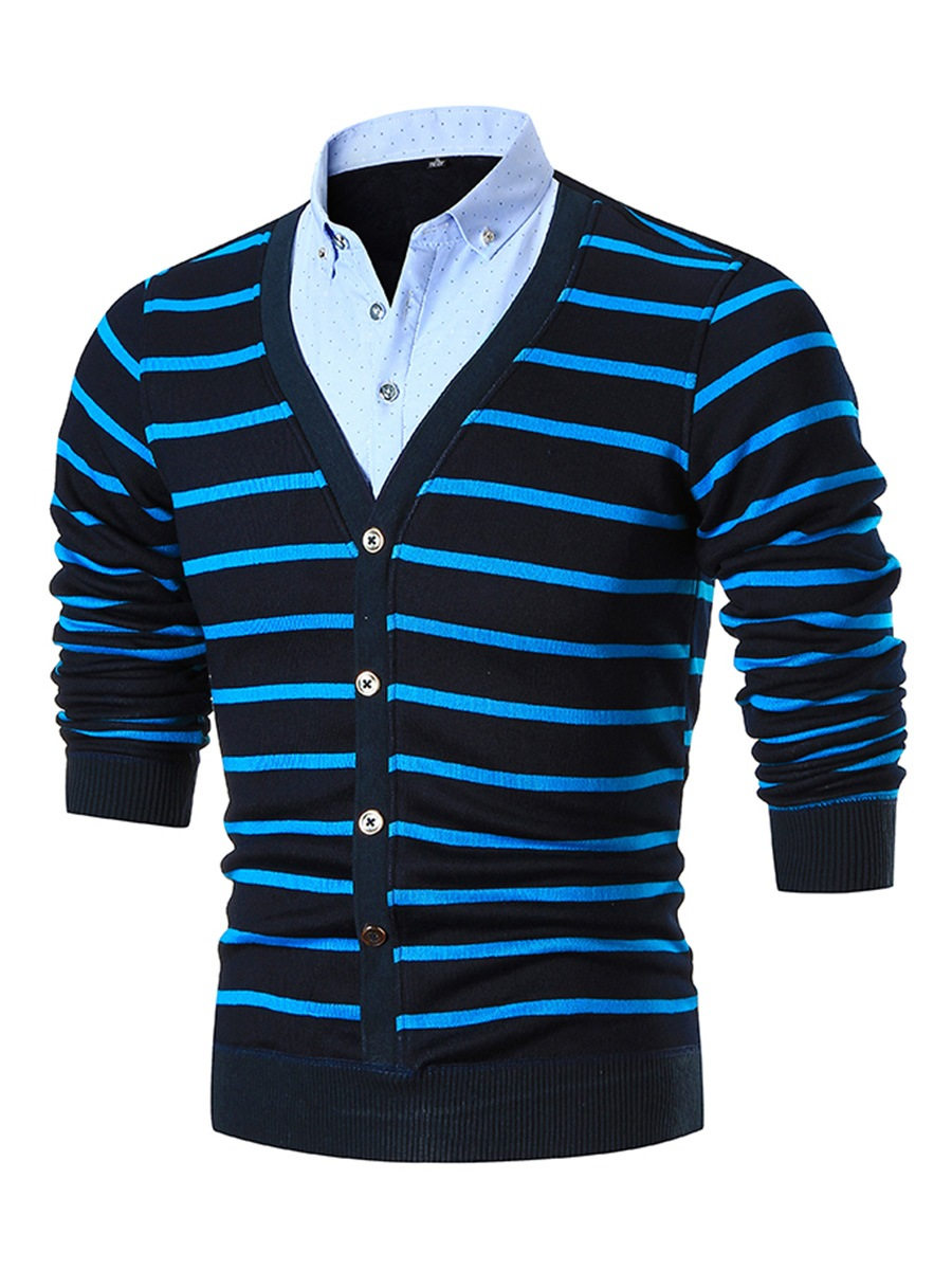 Ericdress Double-Breasted Patched Stripe Warm Men's Sweater