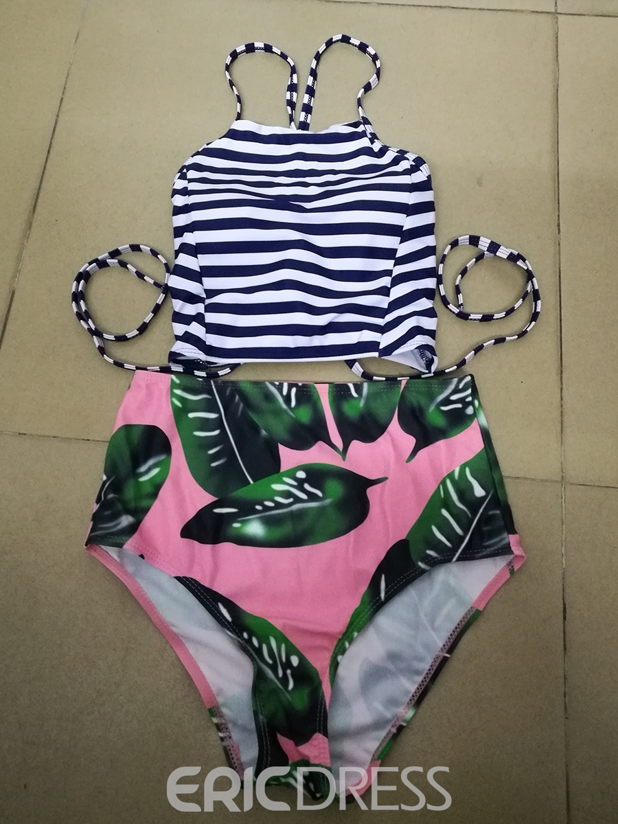Ericdress Vintage Stripe Lace-Up Tankini Set