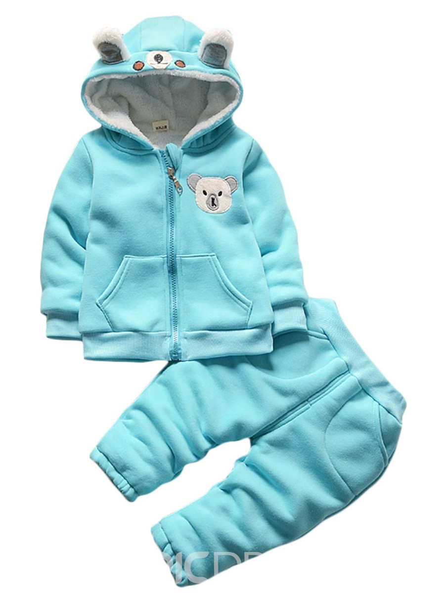 Ericdress Unisex Thicken Warm Winter Zipper Hoodie And Pant Babys Outfit