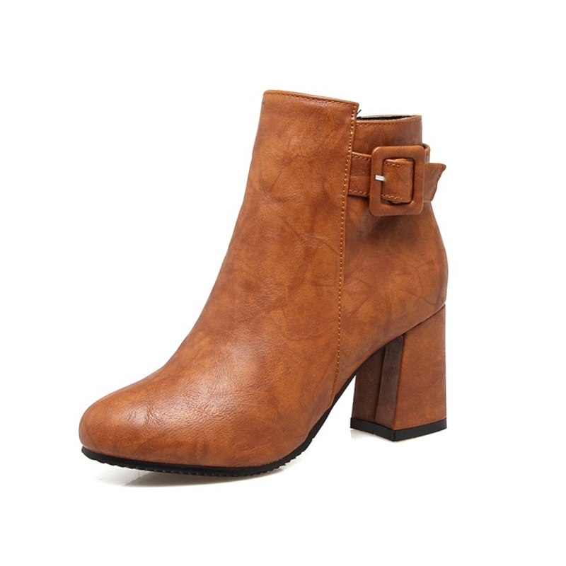 Ericdress Buckle Plain Side Zipper Chunky Heel Ankle Boots