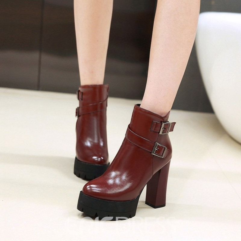 Ericdress Buckle Platform Plain Chunky Heel Booties