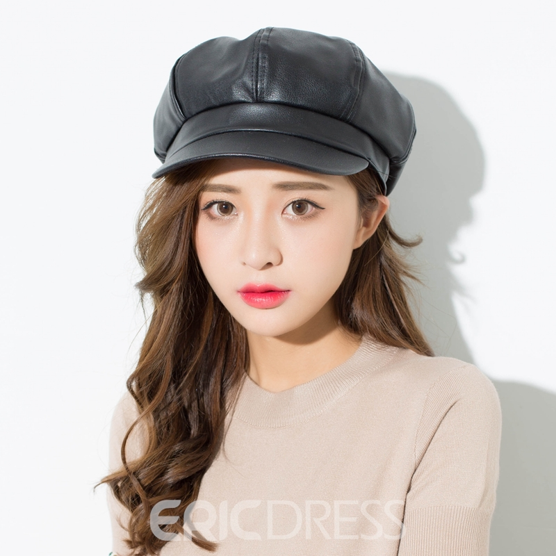 Ericdress All Match Pure Color Leather Beret for Women