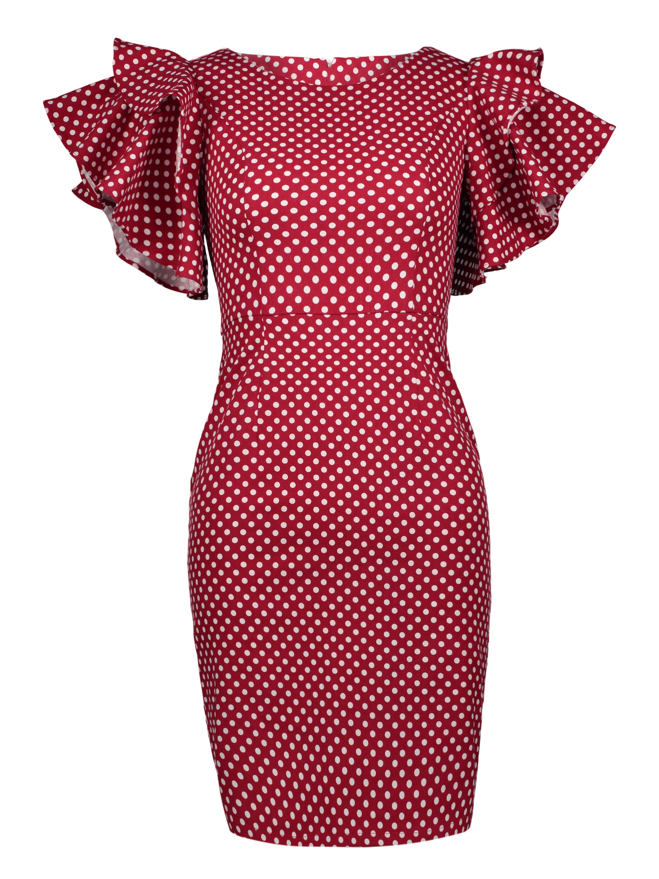 Ericdress Polka Dots Ruffle Sleeve Zipper Bodycon Dress