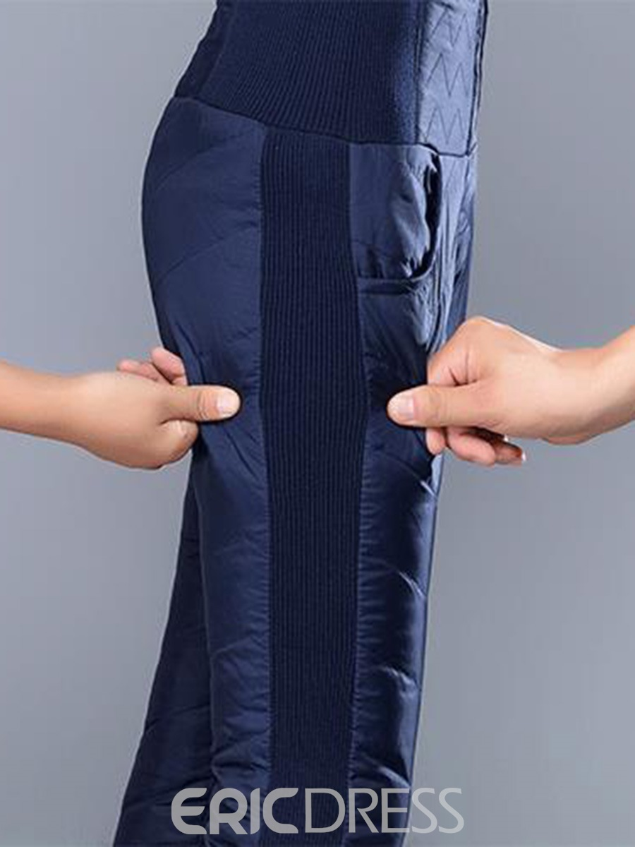 Ericdress High-Waist Thick Patchwork Women's Winter Casual Pants