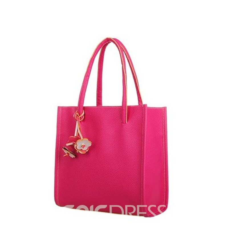 Ericdress Casual Solid Color Floral Pendant Shoulder Bag