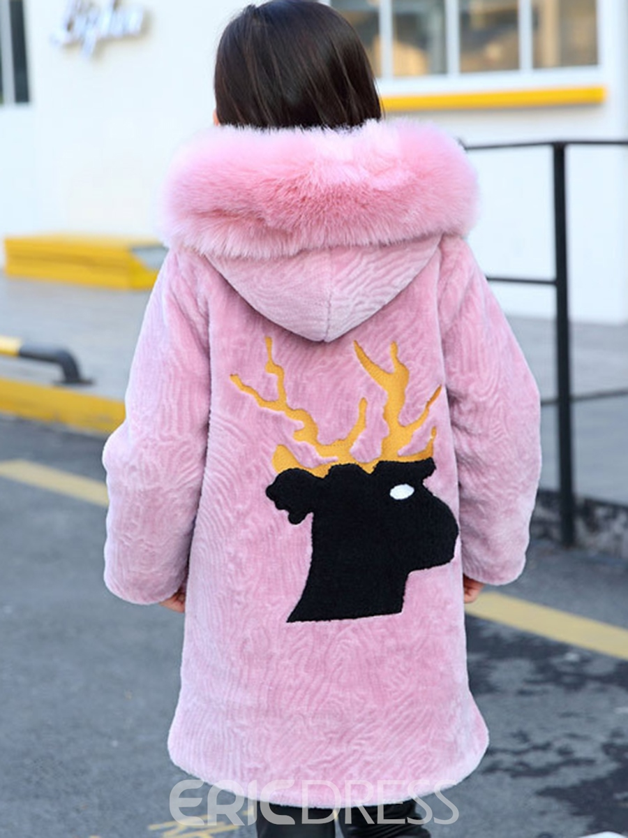 Ericdress Big Fur Collar Thick Warm Hoodie With Deer Pattern Girls Outerwear