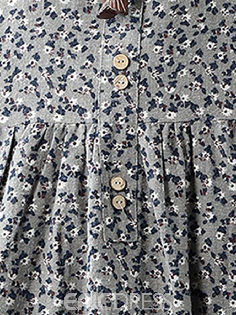 Ericdress Button Floral Print Expansion Casual Dress