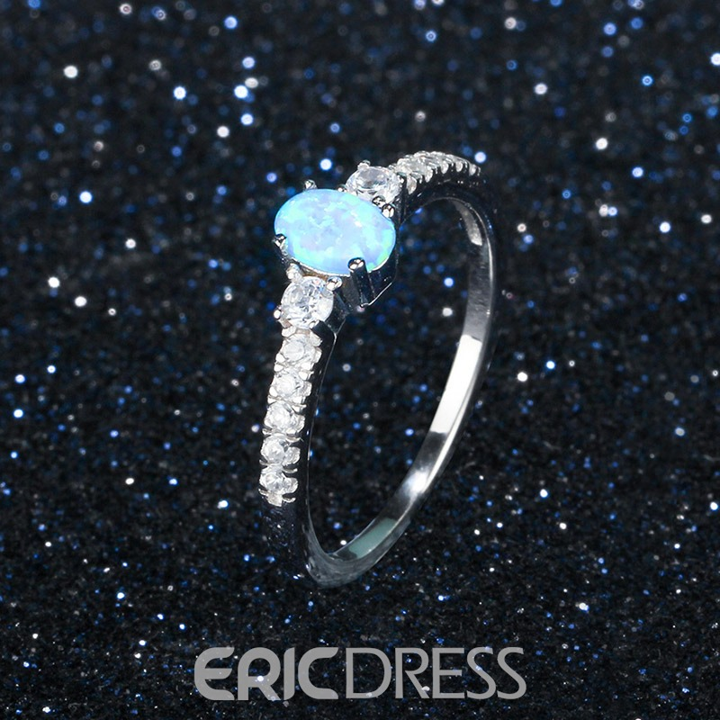 Ericdress S925 Sterling Silver Diamante Wedding Ring for Women
