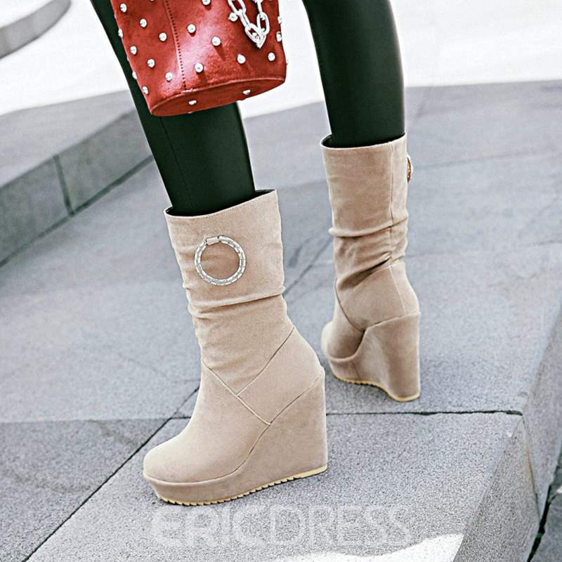 Ericdress Fashion Slip-On Platform Wedge Heel Mid-Calf Boots