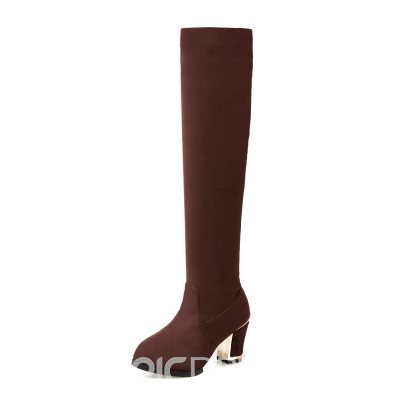 Ericdress Fashion Slip-On Plain Chunky Heel Knee High Boots