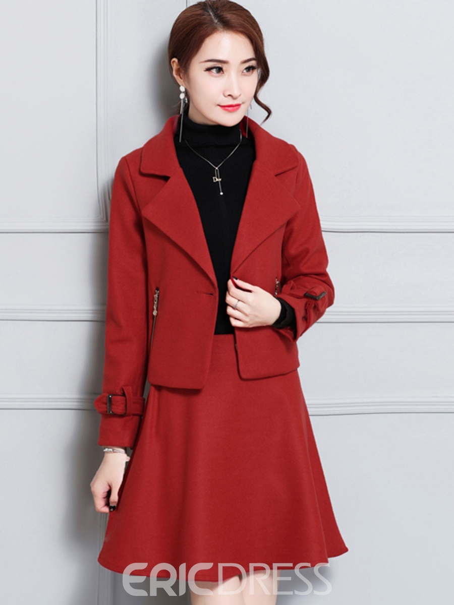 980a400f050 Ericdress Thick Jacket and A-Line Skirt Women s Skirt Suit 12994916 ...