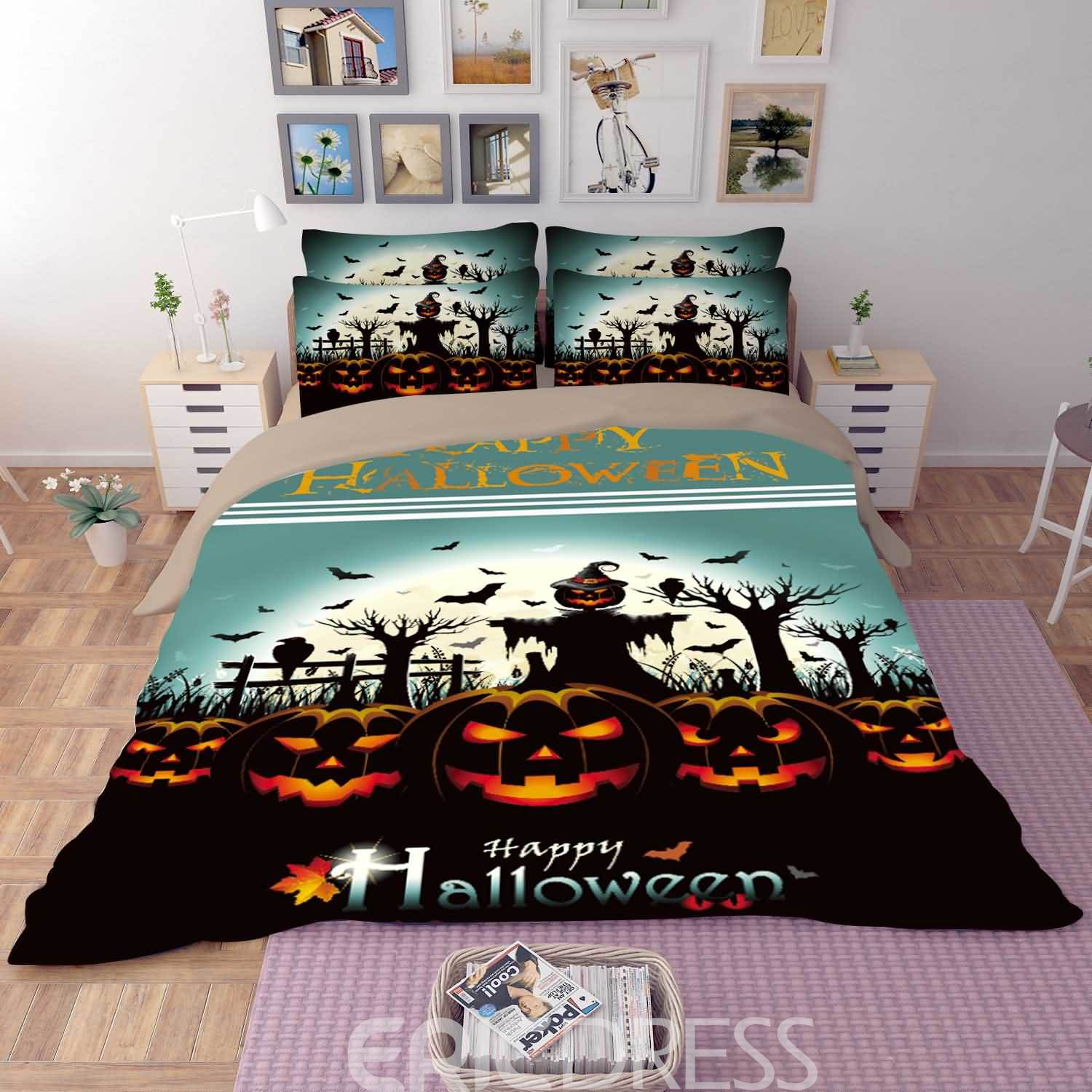 Vivilinen 3D Happy Halloween and Pumpkin Printed Polyester 4-Piece Bedding Sets/Duvet Covers