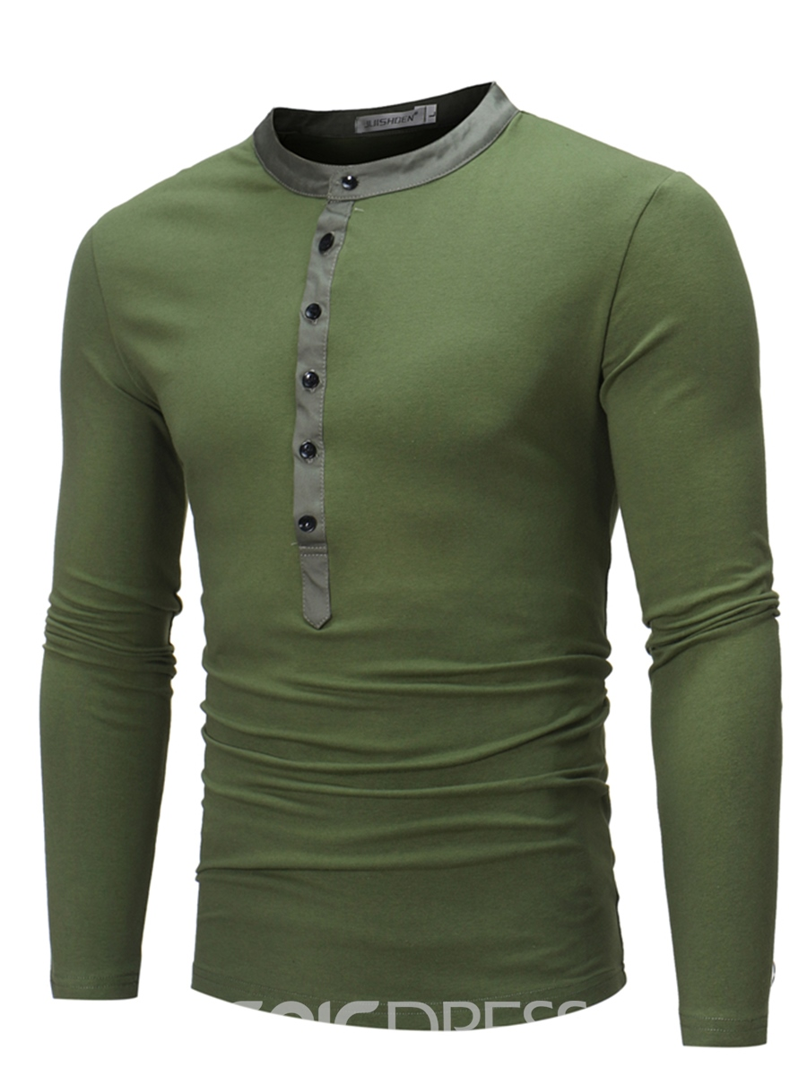 Ericdress Plain Half Button Casual Men's T-Shirt