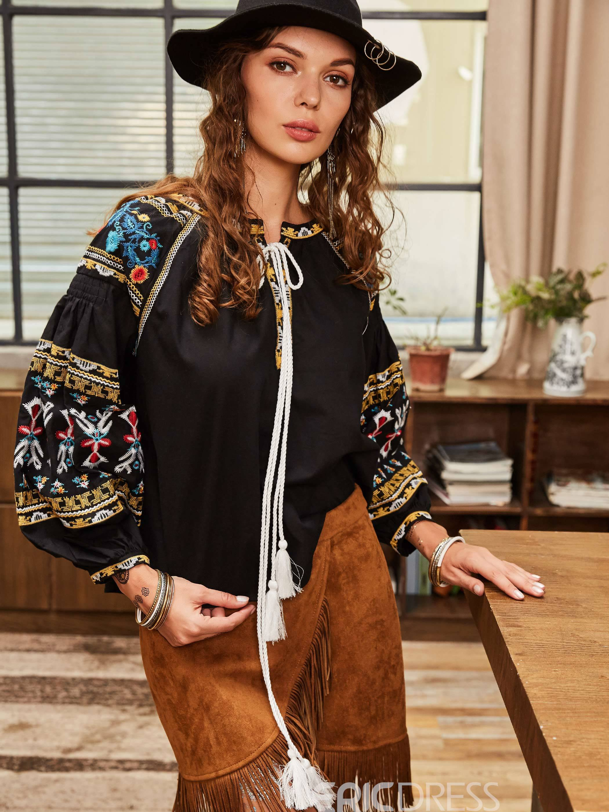 Ericdress Floral Embroideried Lantern Sleeve Lace-Up Blouse