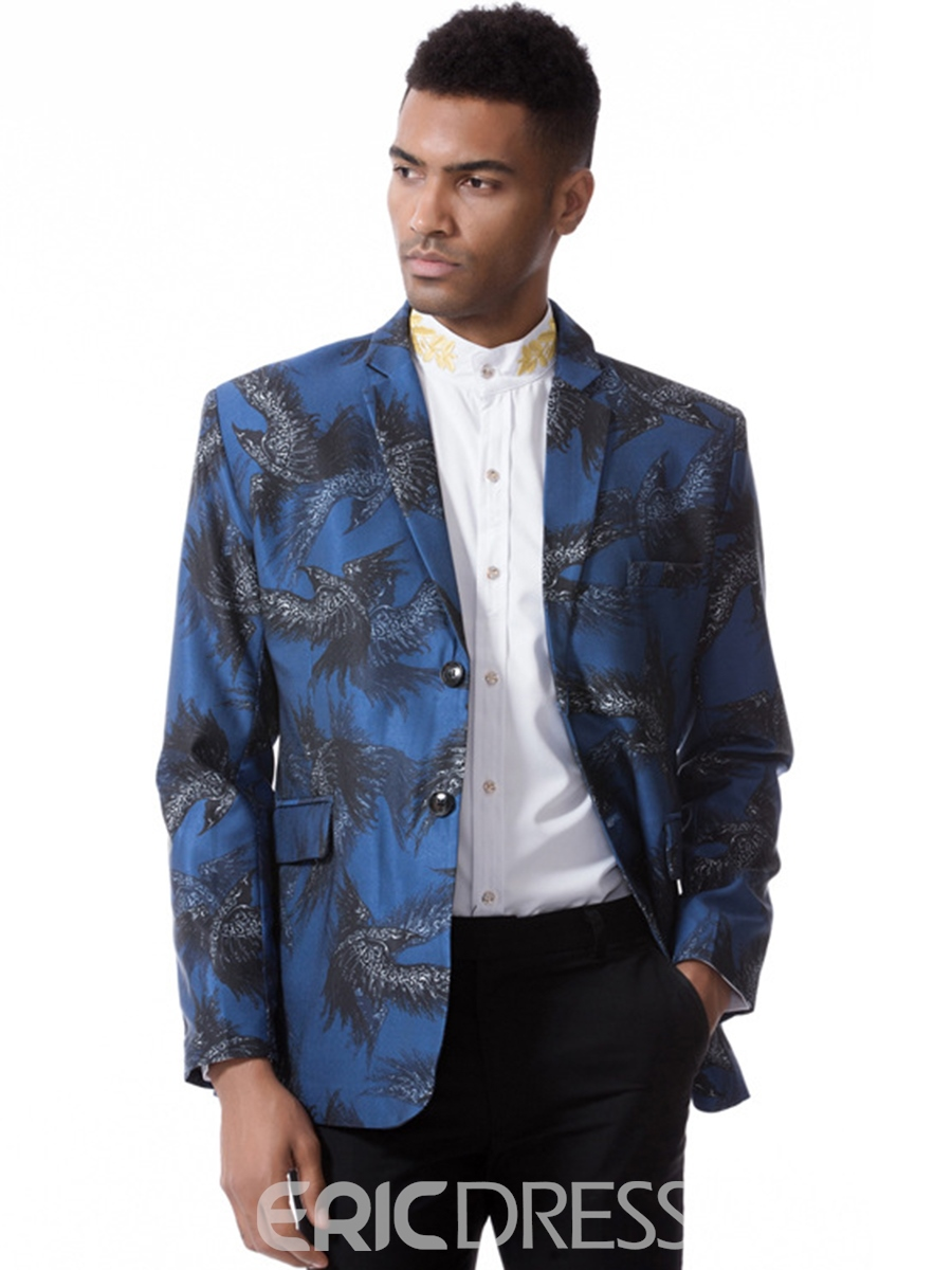 Ericdress Color Block Print Notched Lapel Long Sleeve Vogue Slim Men's Blazer