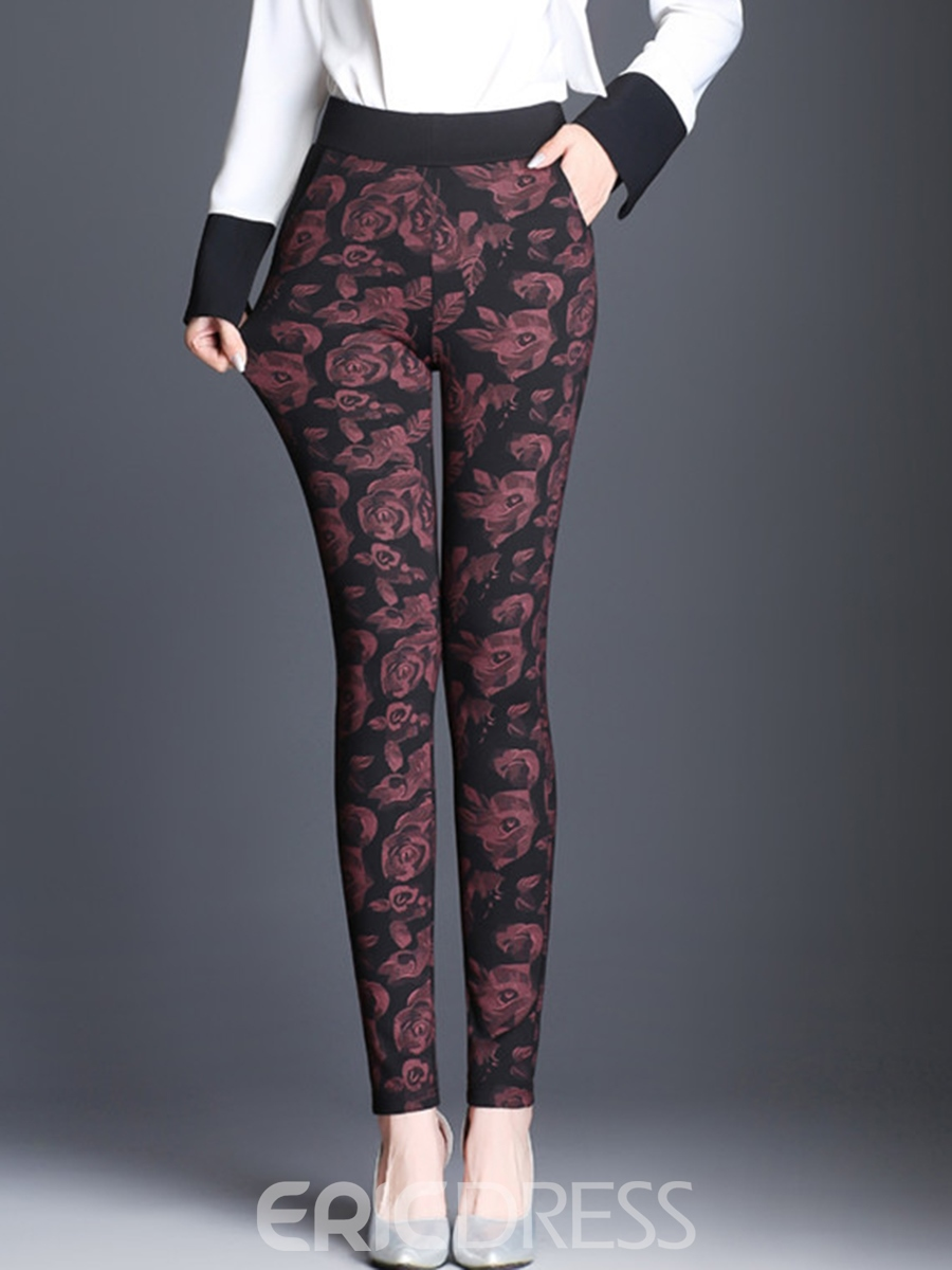 Ericdress Stretchy Thick Slim High-Waist Floral Women's Leggings