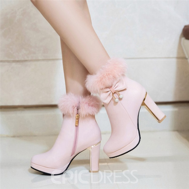 Ericdress Fuzzy Bowknot Decorated Platform High Heel Boots