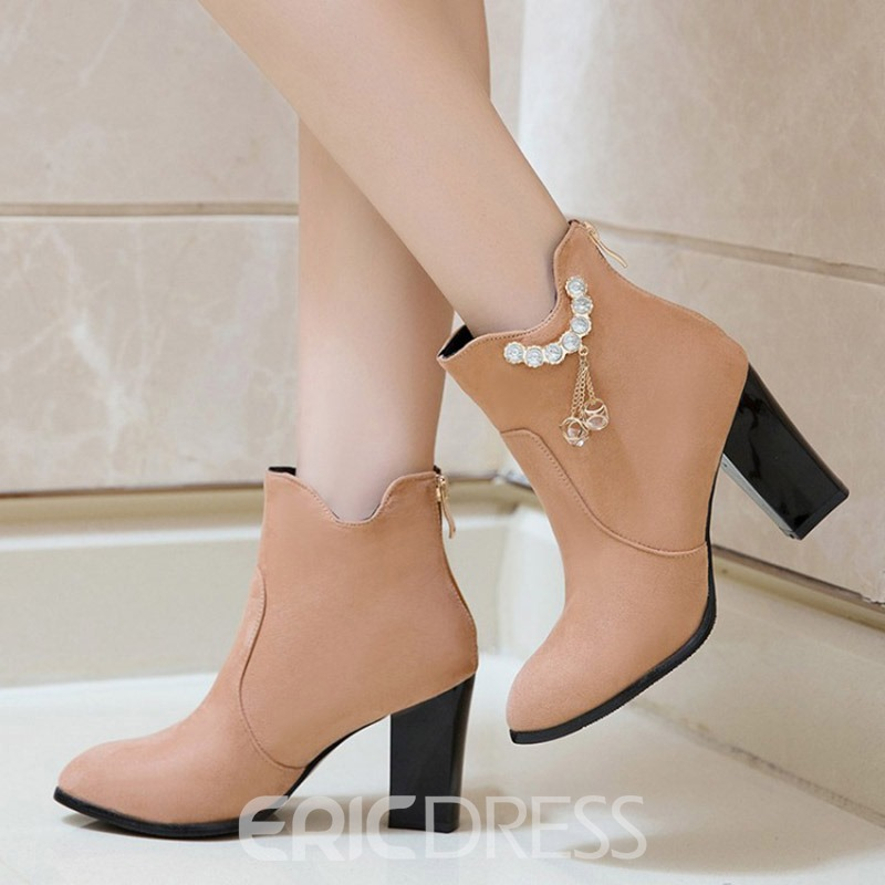 Ericdress Rhinestone Chain Plain High Heel Boots