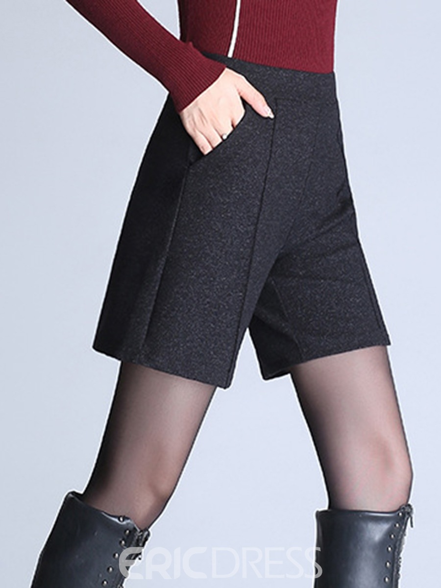 Ericdress Pocket Plain High-Waist Shorts Pants