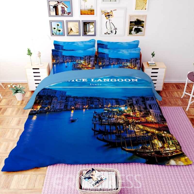 Vivilinen 3D Grand Canal at Night Printed Polyester 4-Piece Bedding Sets/Duvet Covers