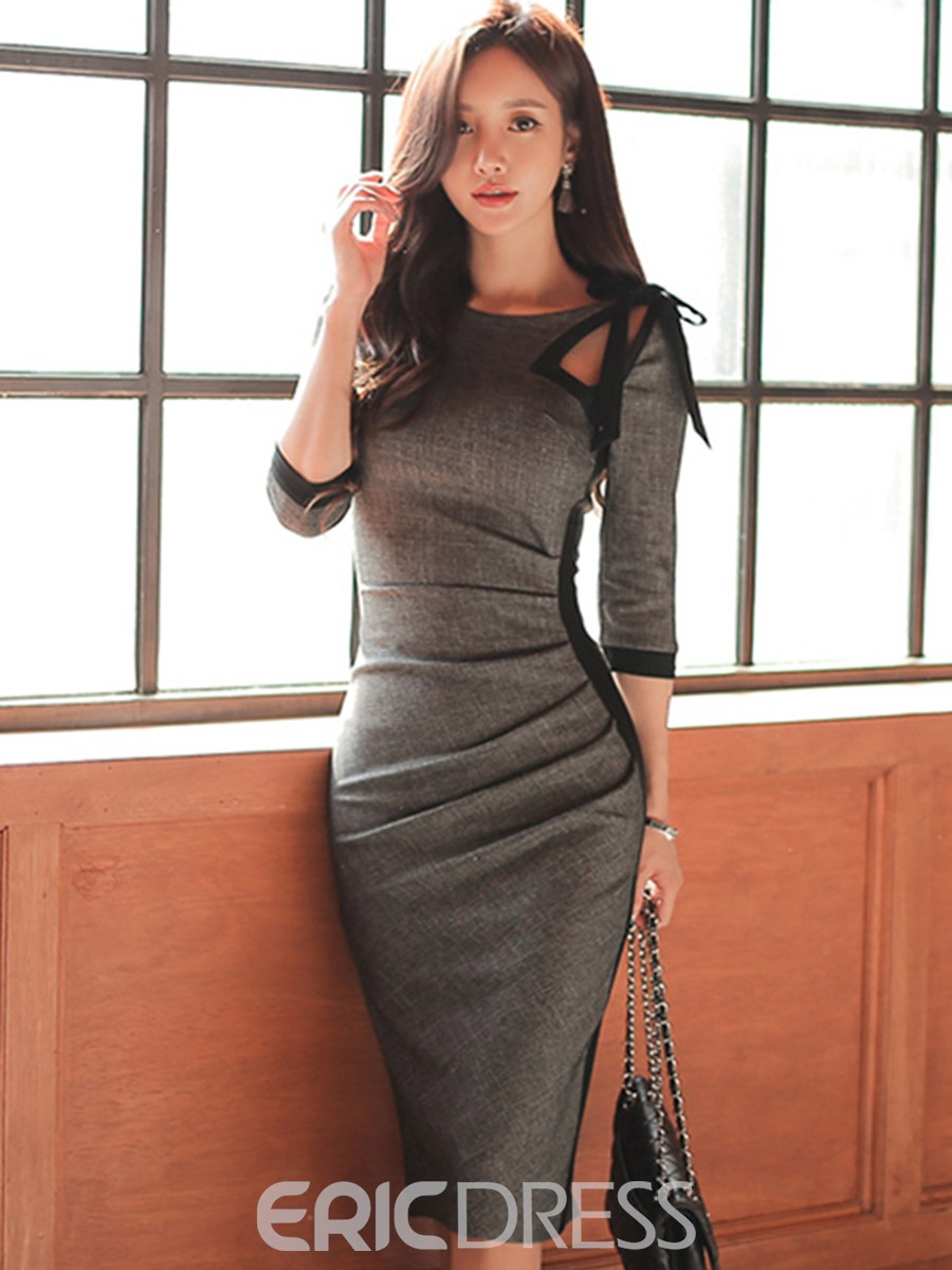Ericdress Bowknot 3/4 Length Sleeves Plain Bodycon Dress
