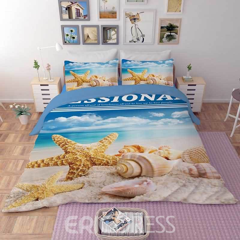 Vivilinen 3D Tropical Conch and Starfish Printed Polyester 4-Piece Bedding Sets/Duvet Covers