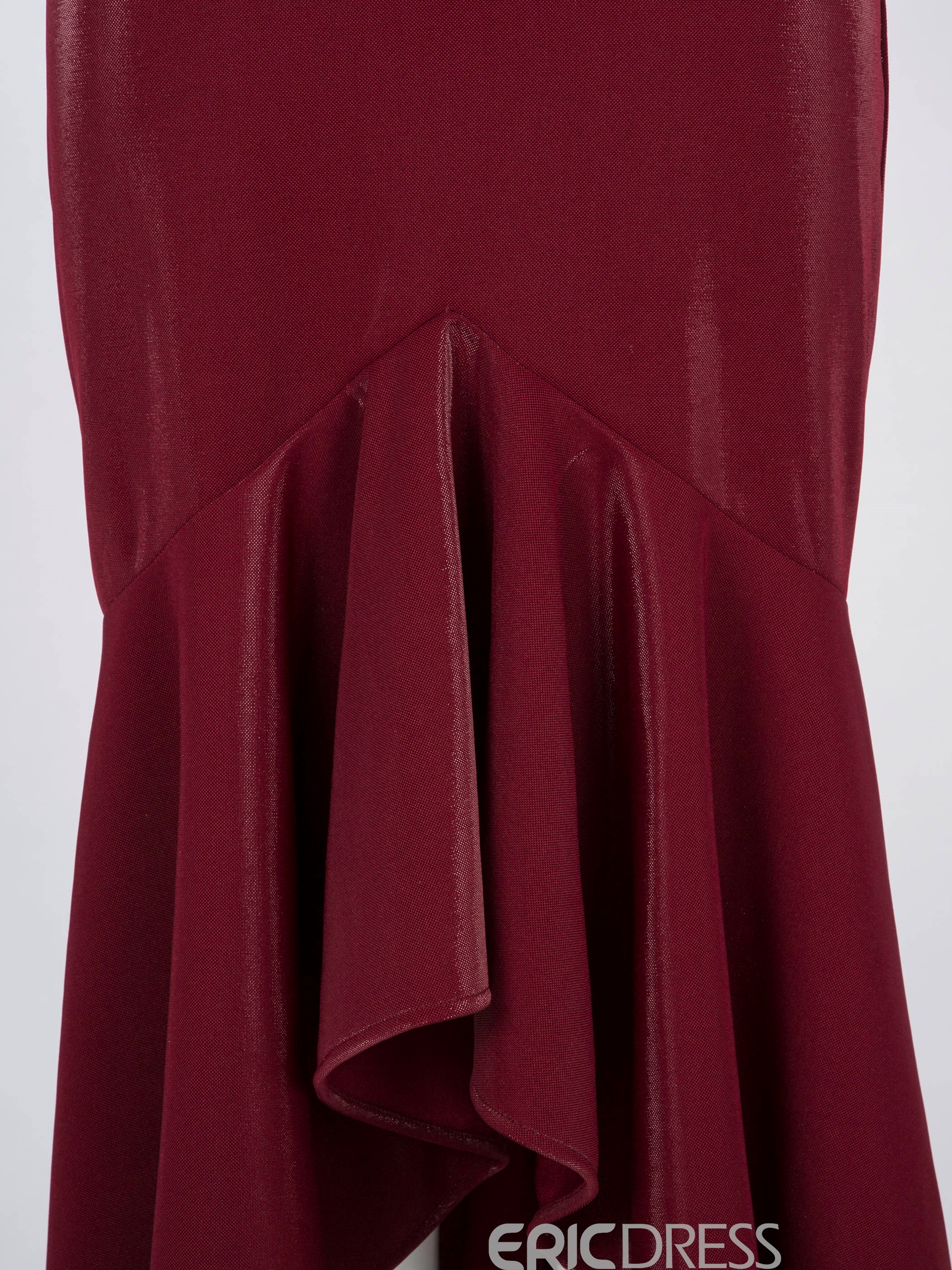 Ericdress Velvet Slash Neck Ruffles Asymmetrical Maxi Dress