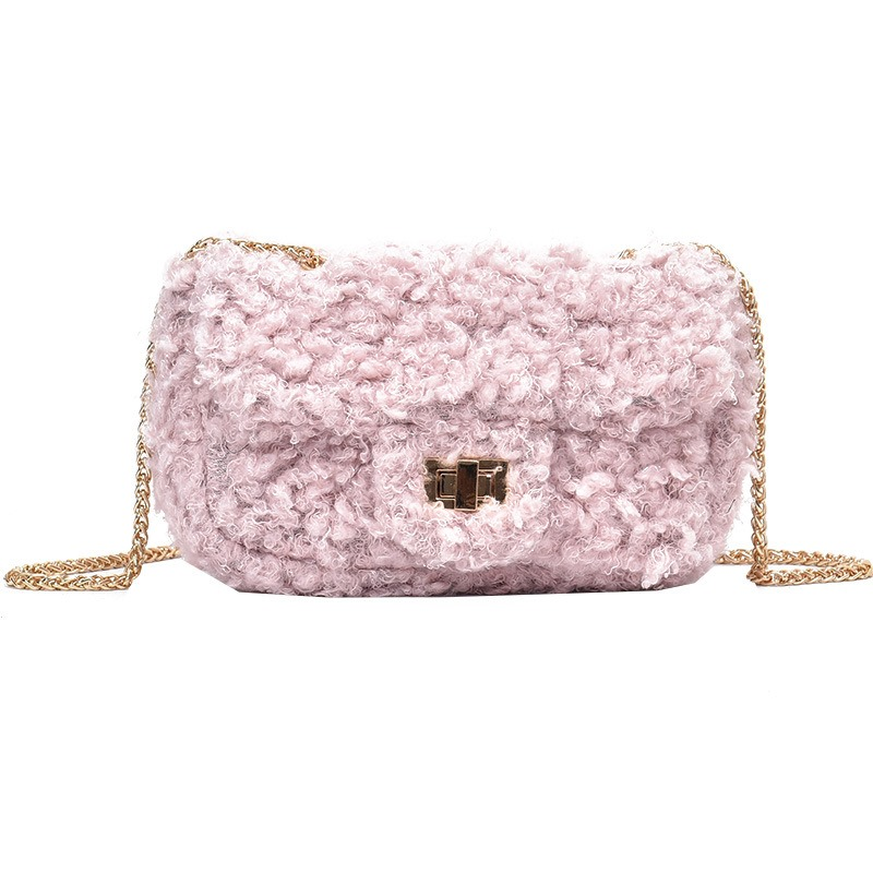 Ericdress Solid Color Plush Chain Crossbody Bag