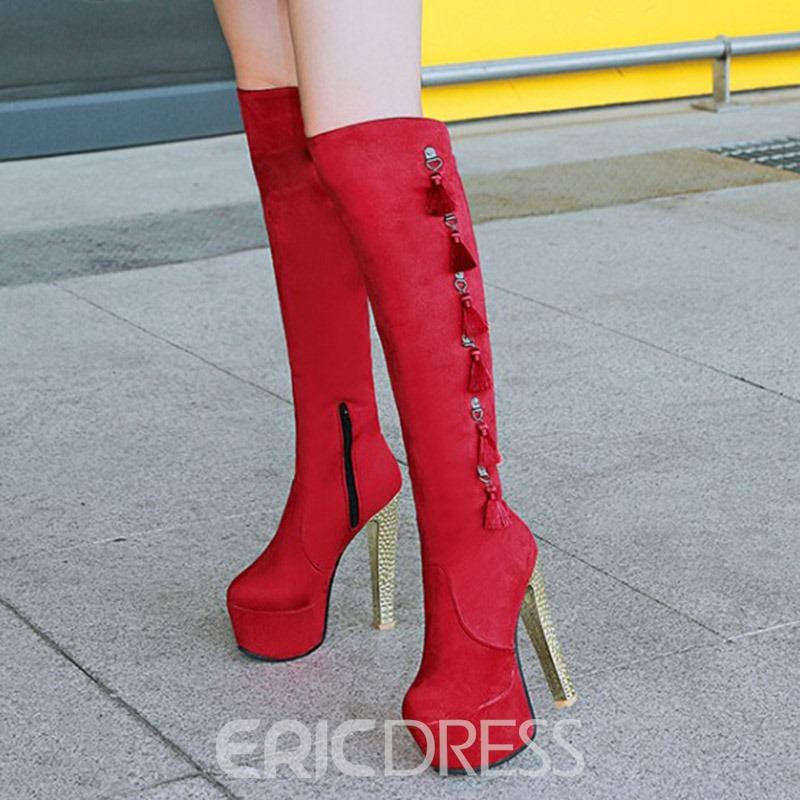 Ericdress Plain Fringe Platform Knee High Boots
