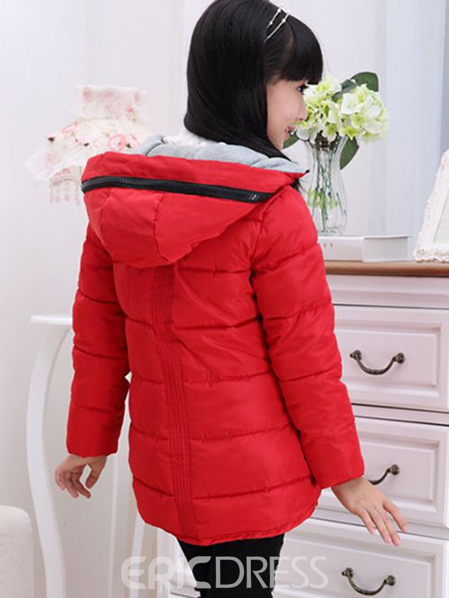 Ericdress Plain Hooded Thicken Girls Down Jacket