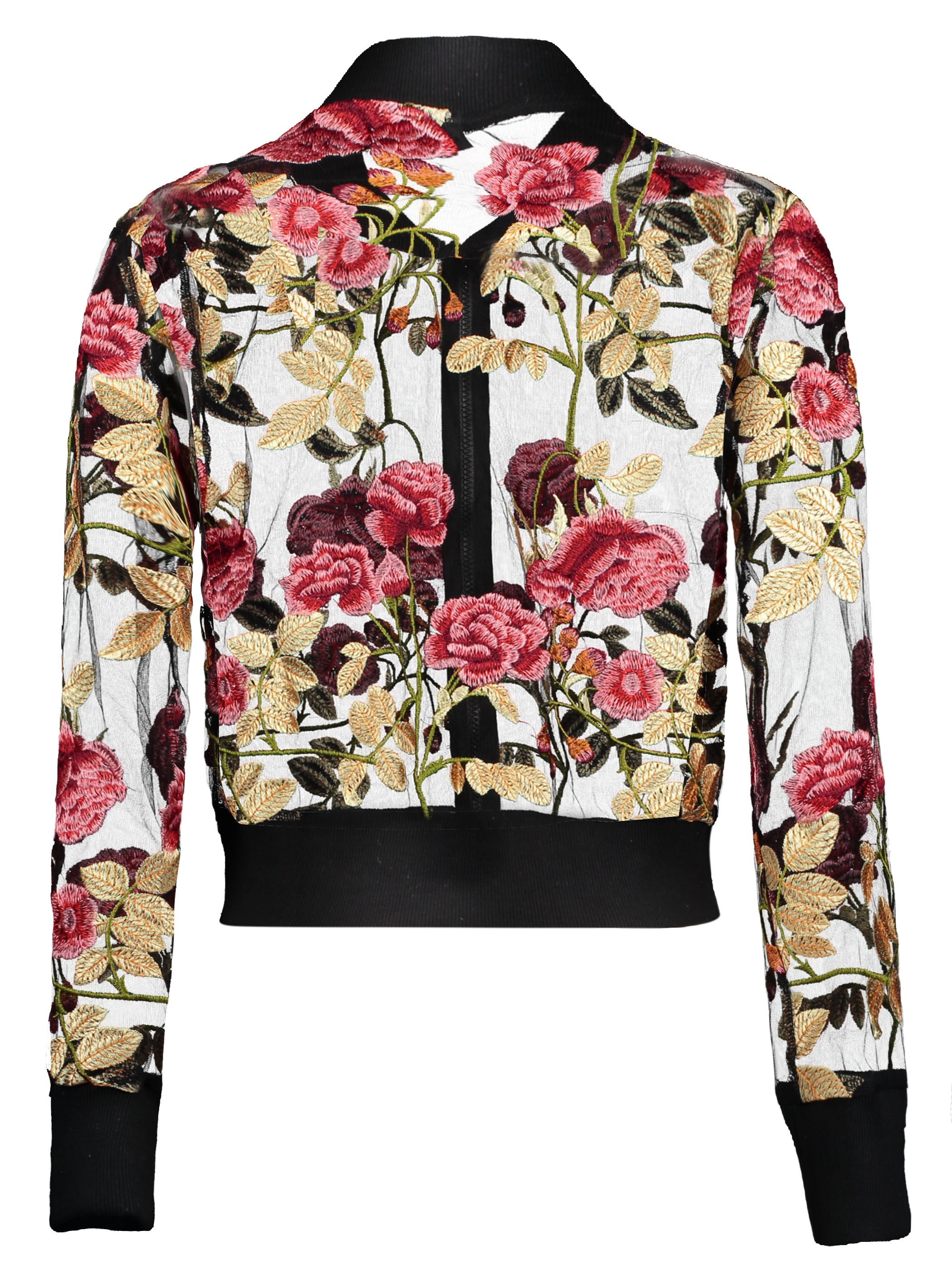 Ericdress Mesh Embroidery Floral Bomber Jacket